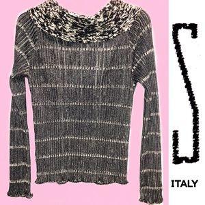"S Italian Brand Tops - ""S"" Italian Brand Mohair Cowl/Off Shoulder Sweater"